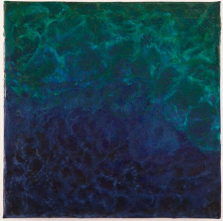 "Still Waters, Psm. 23:2, Encaustic on Cradled Board, 12""x12""x1.5"", 2015"