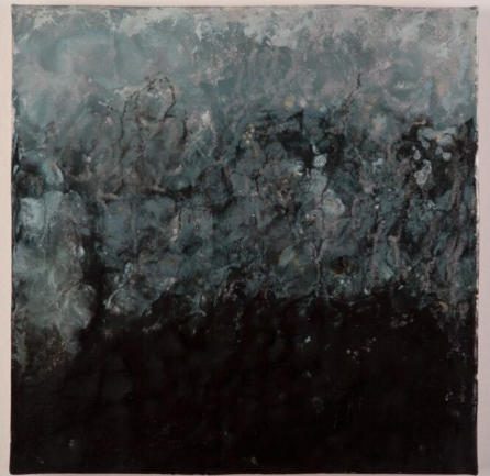 "The Grave's Defeat, Psm. 49:15, Encaustic on Cradled Board, 12""x12""x1.5"", 2015"